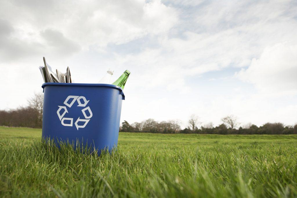 blue recycling bin in a green field